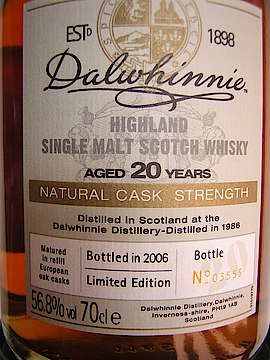 Dalwhinnie Natural Cask Strength