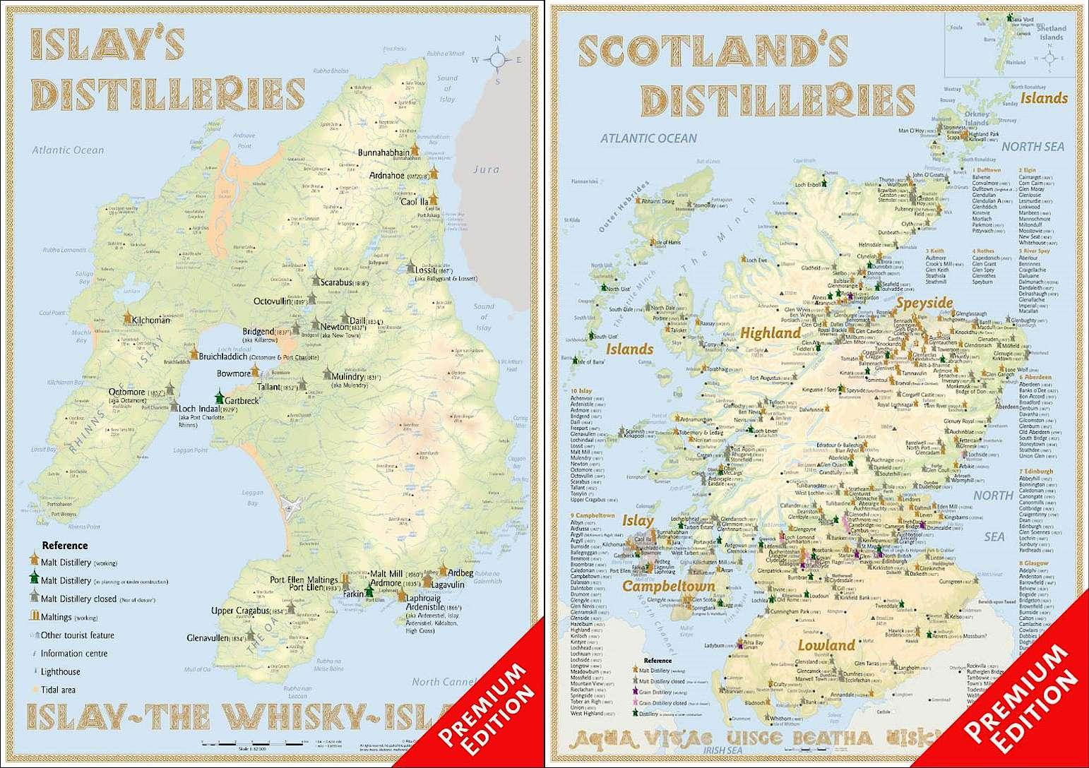 Schottland Karte Whisky.Landkarten Mit Allen Schottischen Whiskydestillerien Whisky De