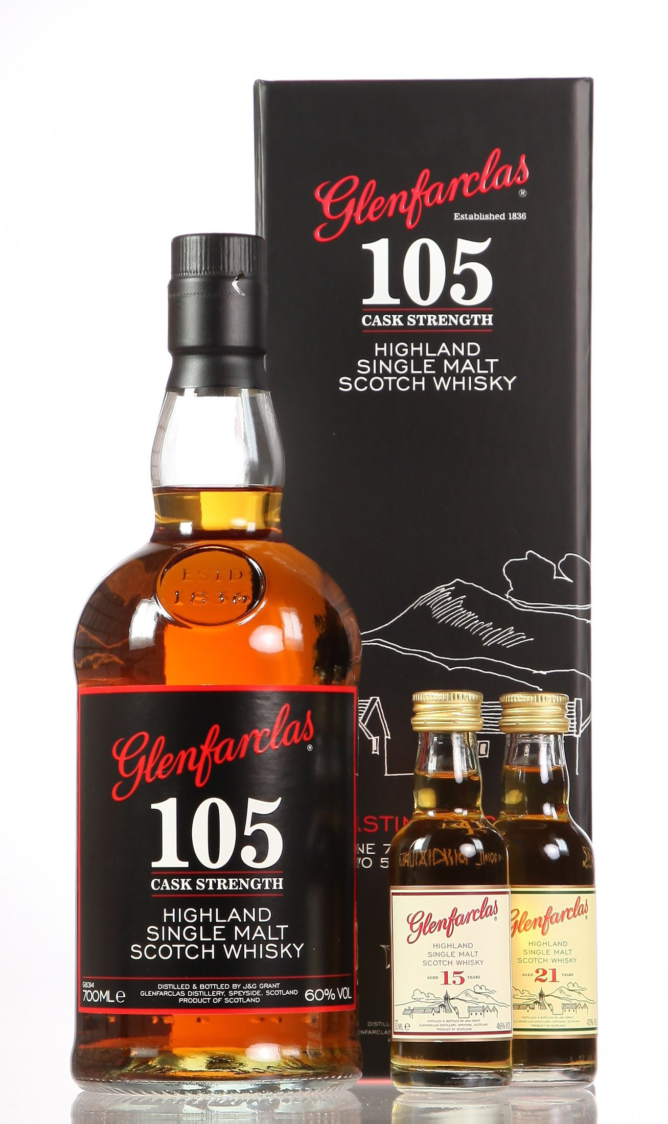 Glenfarclas 105 mit 2 Miniaturen