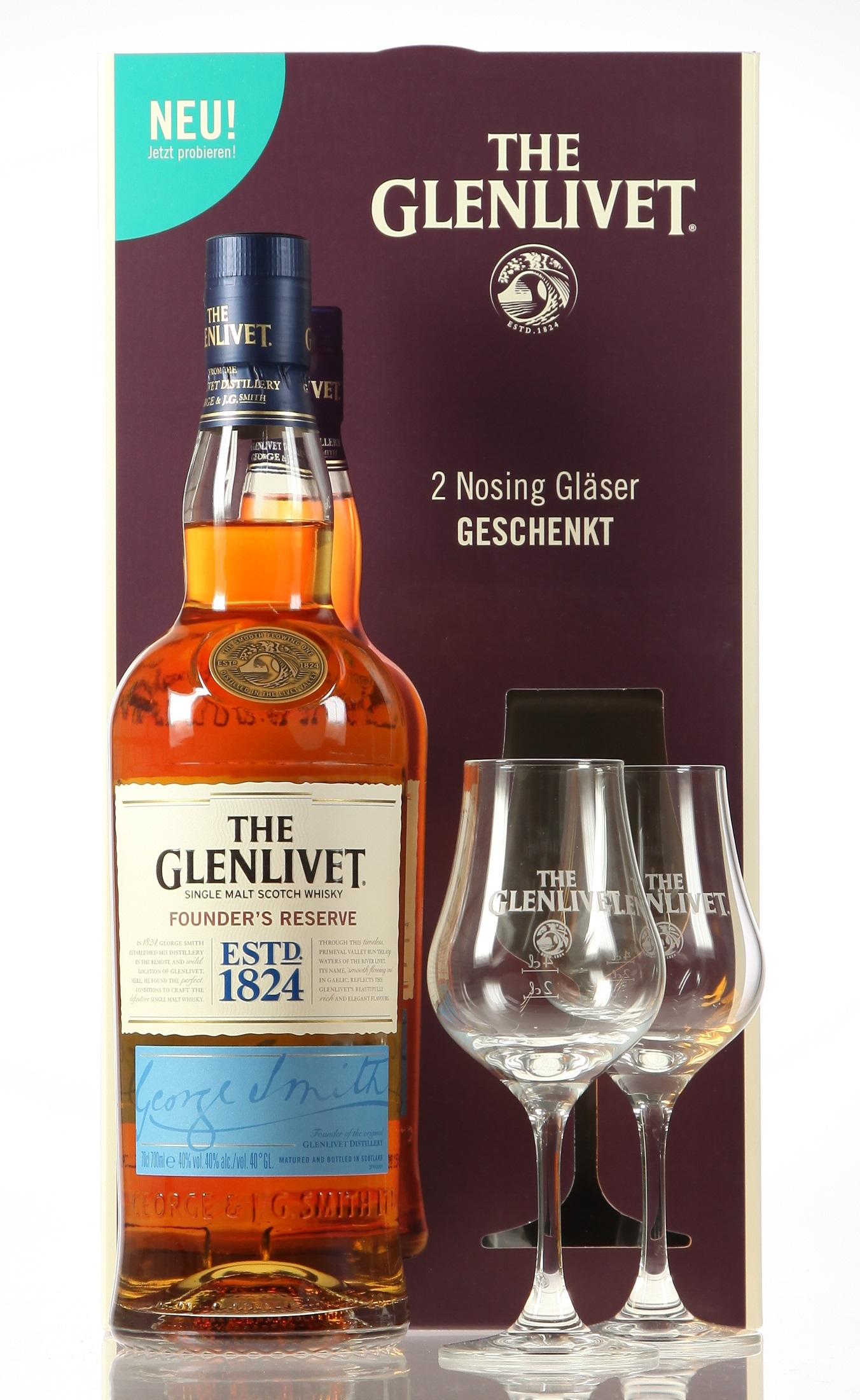 Glenlivet Founder's Reserve mit 2 Stielgläsern
