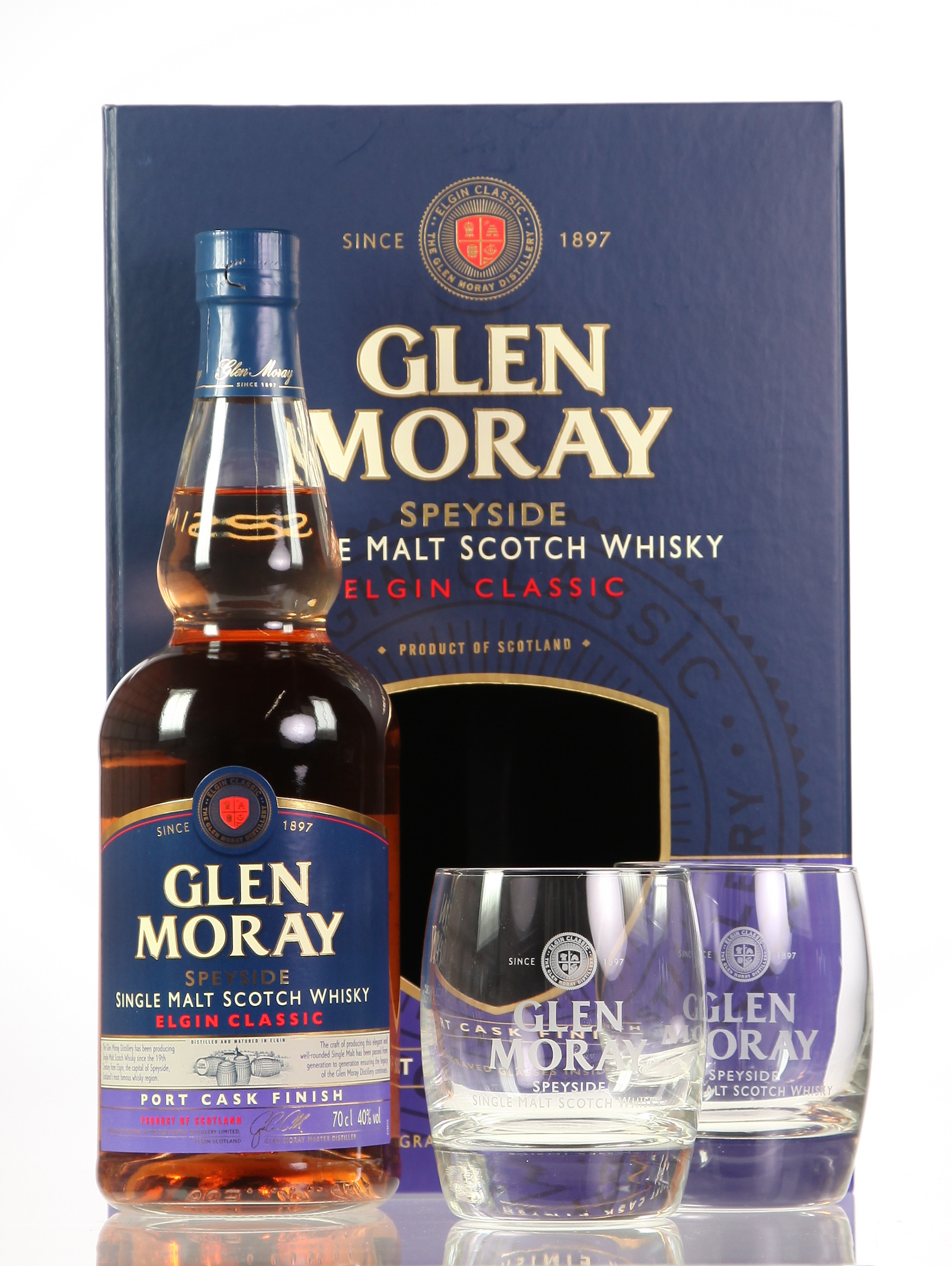 Glen Moray Port Cask Finish mit 2 Gläsern