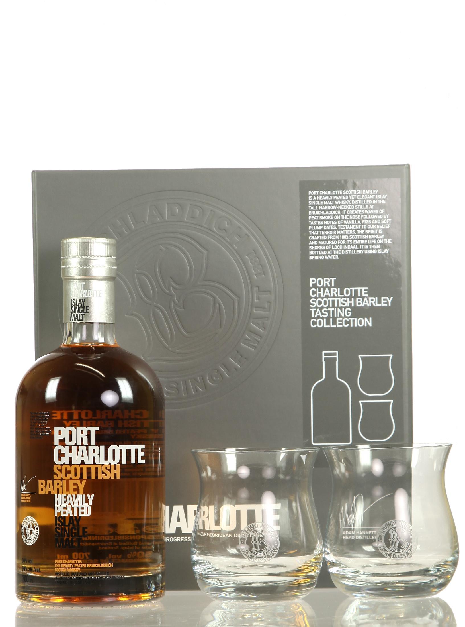 Port Charlotte Scottish Barley mit 2 Gläsern