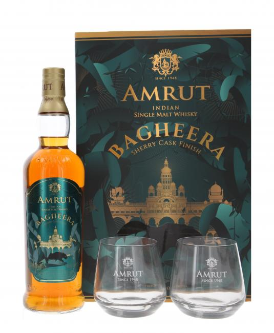 Amrut Bagheera mit 2 Gläsern