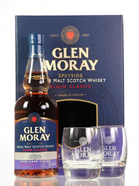 Glen Moray Port Cask Finish mit 2 Gläsern
