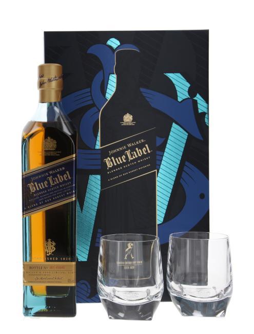 Johnnie Walker Blue Label mit 2 Kristallgläsern