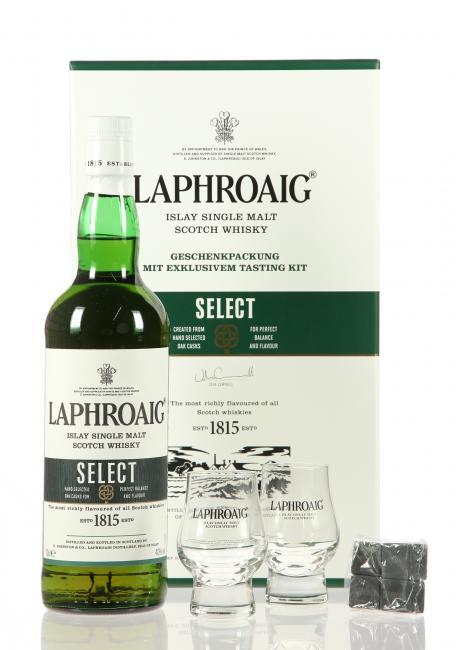 Laphroaig Select mit Kühlsteinen und 2 Gläsern