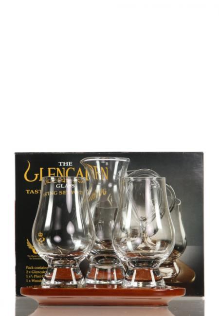 Wooden Flight Tray Glencairn mit 2 Gläsern und Wasserkrug