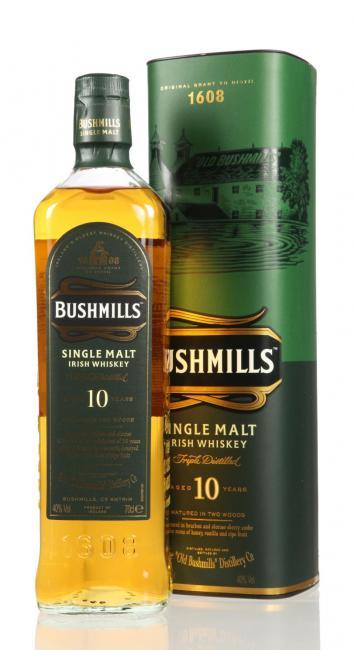 Bushmills inkl. gratis Untersetzer mit irischen Whiskey-Marken