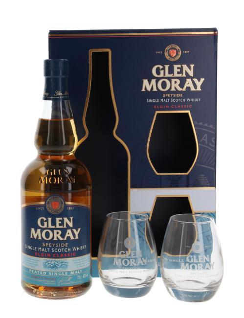Glen Moray Peated mit 2 Gläsern