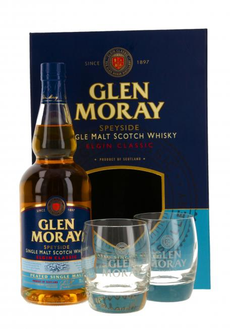 Glen Moray Peated mit 2 Gläsern