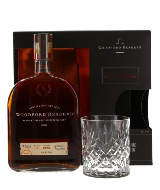 Woodford Reserve Bourbon mit Kristallglas-Tumbler