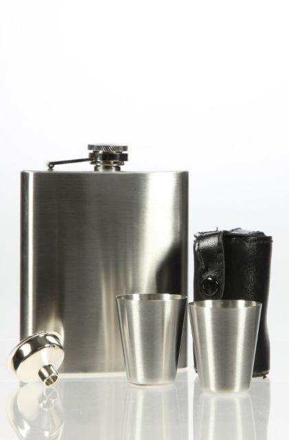 Edelstahl-Taschenflaschenflaschen-Set