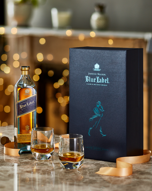 Johnnie Walker Blue Label mit 2 Kristallgläsern