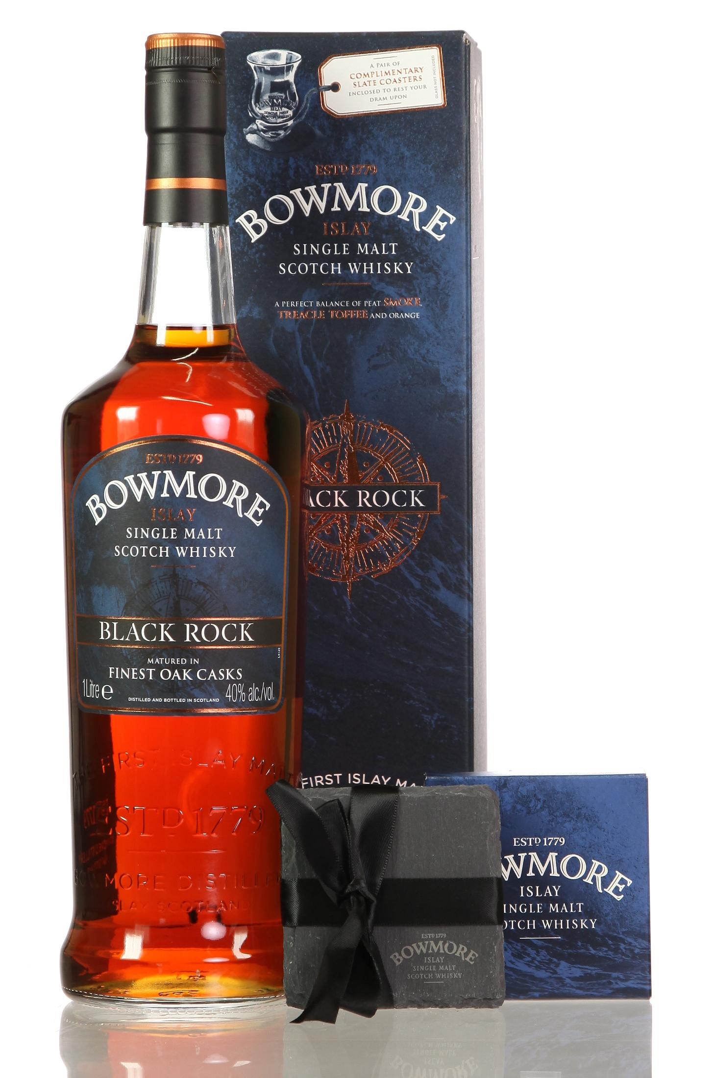 Bowmore Black Rock mit Untersetzer